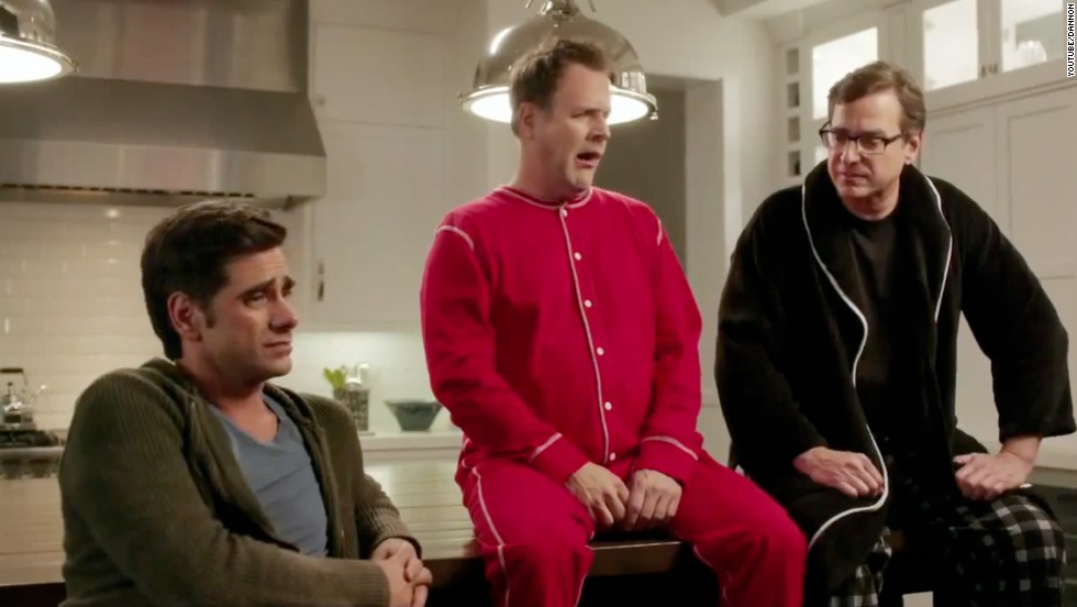 "Former ""Full House"" stars, from left, John Stamos, Dave Coulier and Bob Saget got together again for a Dannon Oikos commercial for Super Bowl 2014."