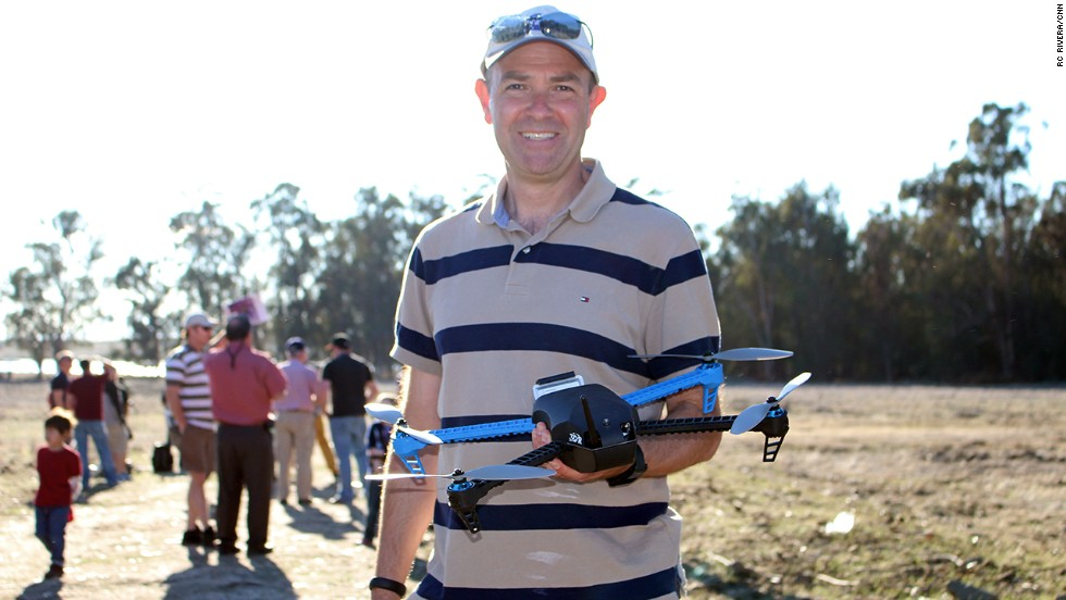 "Chris Anderson, founder of 3D Robotics, holds the company's <a href=""http://3drobotics.com/iris/"" target=""_blank"">new Iris drone</a>. The device is designed for aerial photography and will cost $750 when it is released in February."