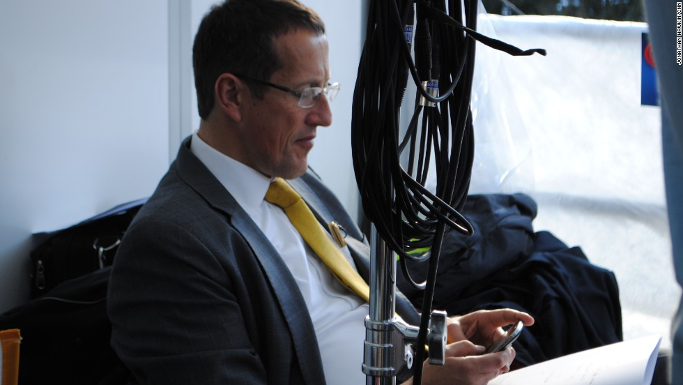 Richard Quest taking a quiet moment before going on air at Davos.