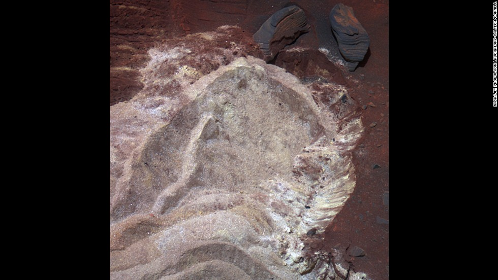 Soft soil was exposed when Spirit's wheels dug into a patch of ground dubbed Troy in 2009. While stationed there, the rover was able to show scientists that water, possibly in the form of snowmelt, had trickled into the subsurface relatively recently. Layers of soil with different compositions suggest that thin films of water may have gotten into the ground from frost or snow. Scientists believe Mars could have had cyclical climate changes when the planet was tilted farther on its axis.