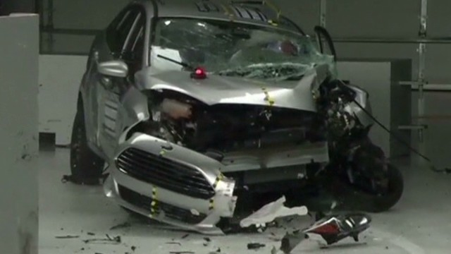 Small cars crushed in crash test