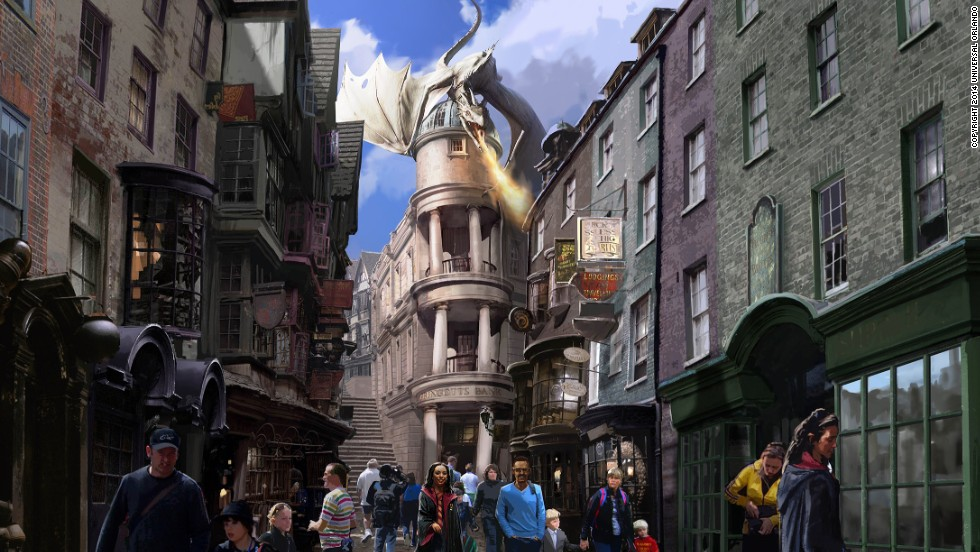 The latest installment of The Wizarding World of Harry Potter is scheduled to open this summer in Orlando's Universal Studios theme park. The new attraction, seen here in a rendering, features London and the magic-packed Diagon Alley. The first Harry Potter attraction opened in 2010 in Universal's Islands of Adventure. The two areas will be connected by the Hogwarts Express train for visitors with park-to-park admission.