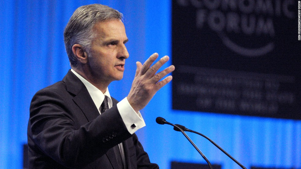 Swiss President Didier Burkhalter delivers a speech during the opening session at the World Economic Forum in Davos on January 22, 2014. Banking world heavyweights debated whether the financial crisis had turned a real corner, or whether the demons of the past could fast return. AFP PHOTO/ERIC PIERMONT        (Photo credit should read ERIC PIERMONT/AFP/Getty Images)