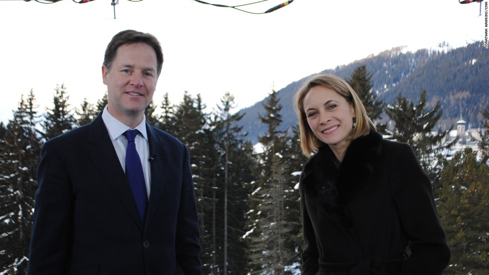 Nina Dos Santos poses for a photo with Nick Clegg, the UK deputy Prime Minister.