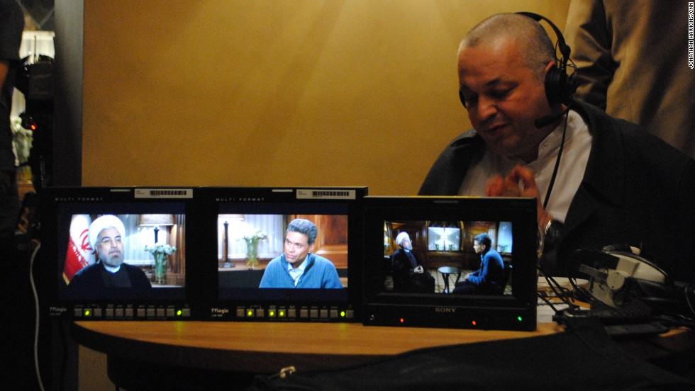 Backstage at Fareed Zakaria's interview with the Iranian President Hassan Rouhani -- CNN's translator is hard at work.