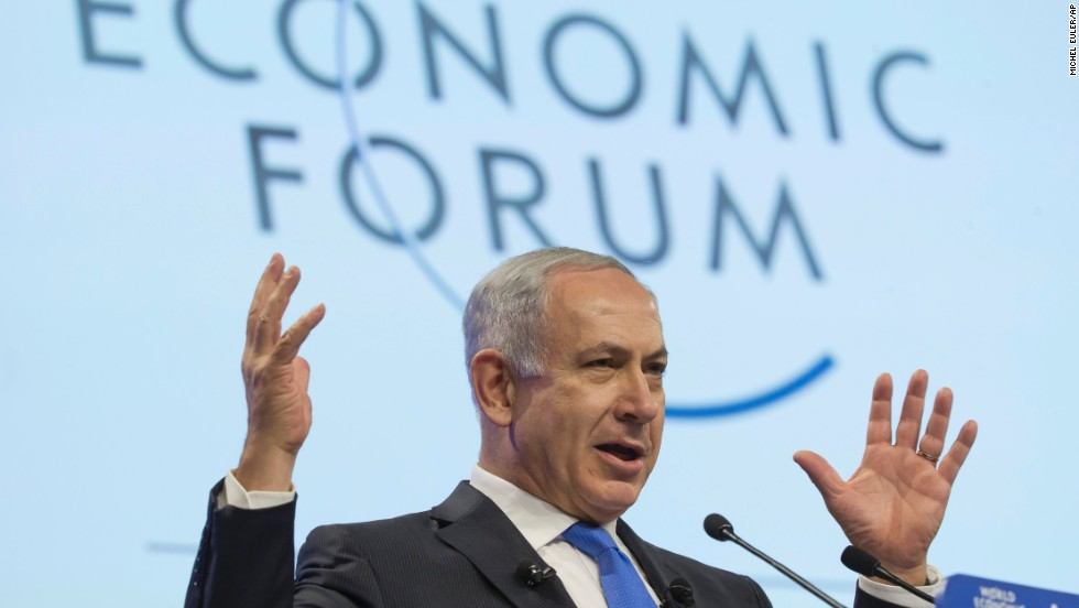 Prime Minister Binyamin Netanyahu addresses the forum on Thursday. His message: Investing in the Israeli economy is a way to facilitate peace in the region.