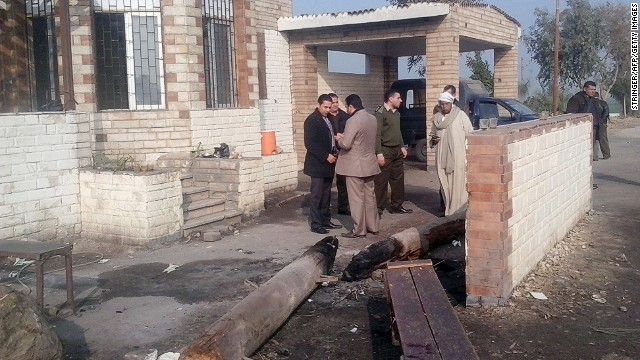 Checkpoint in the Beni Suef province on January 23, 2014 where gunmen on motorbikes opened fire on policemen.
