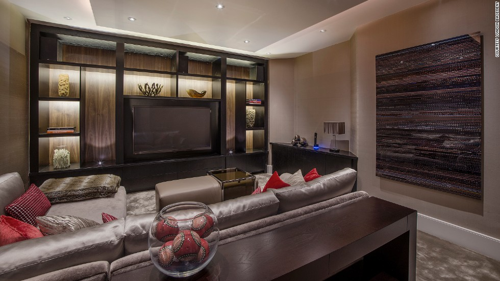 A luxury basement lounge in the plush Hampstead district of London. Underground extensions are now becoming increasingly common in more modest neighborhoods such as Hammersmith, Clapham and Wandsworth.