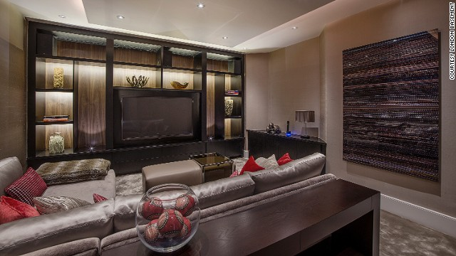 A luxury basement lounge area in a house in Hampstead, London.