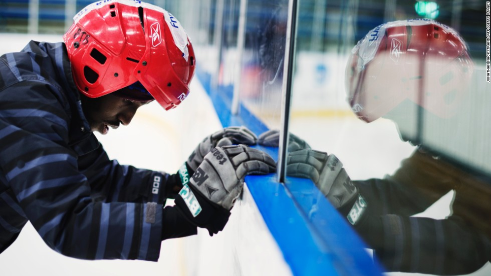 A Somali player gets ready to tackle the ice in training ahead of the Bandy World Championships in Russia.