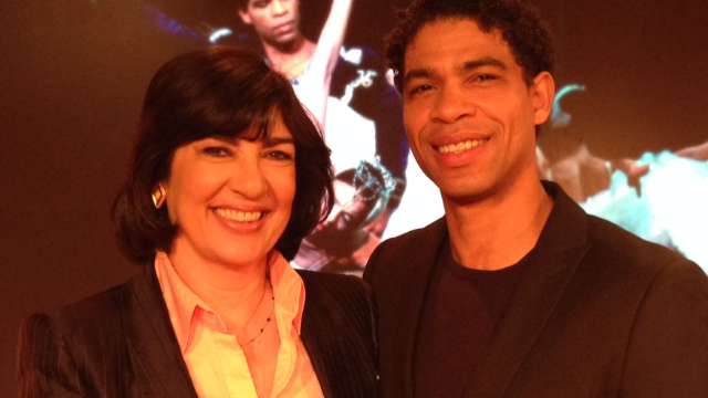 CNN's Christiane Amanpour with ballet dancer Carlos Acosta in London on January 23, 2013.