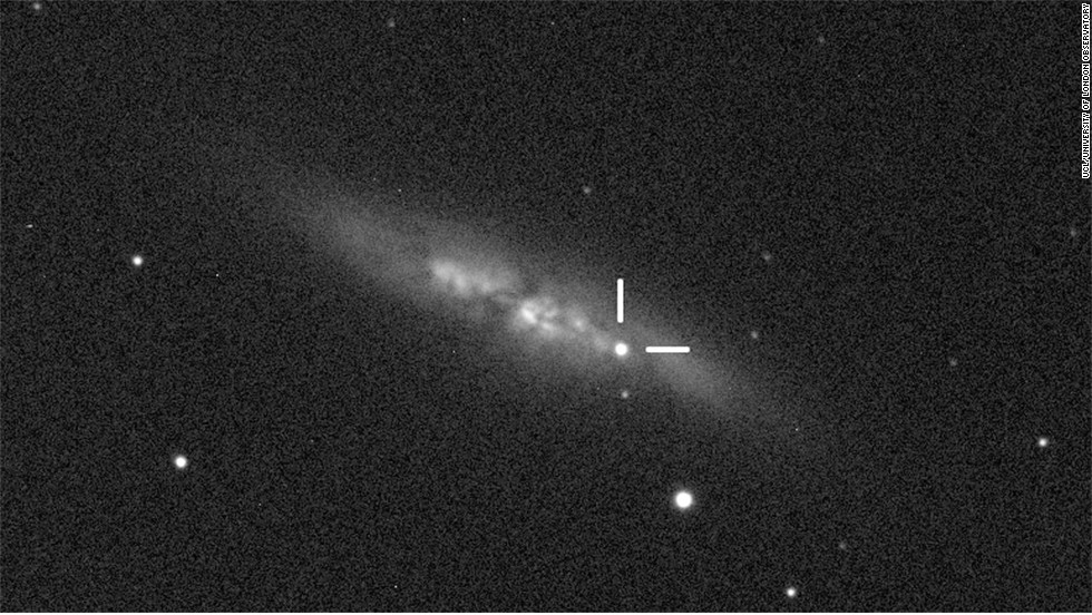 The M82 supernova, seen here, has been designated SN2014J because it is the 10th supernova detected in 2014. At 11.4 million light years from Earth, it is the closest Type Ia supernova recorded since systematic studies with telescopes began in the 1930s.