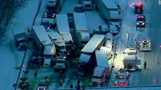 Tangled mess of trucks, cars on I-94