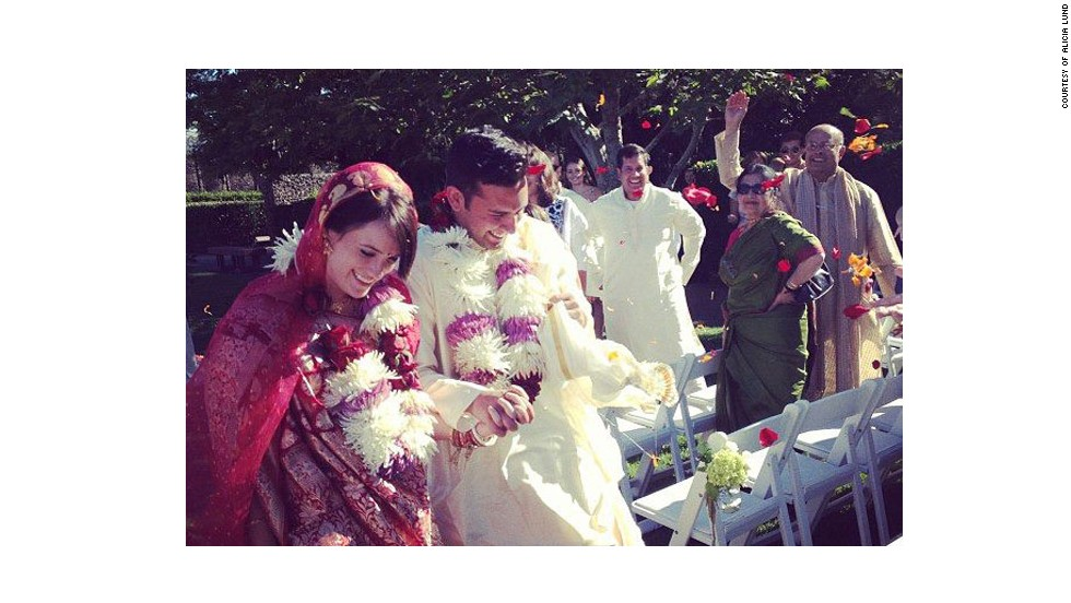 """<a href=""""http://www.elle.com/life-love/sex-relationships/kelsey-isaac-weddings#slide-4"""" target=""""_blank"""">Tessa and Ashoke</a>: August 3, 2013, in Sonoma, California, at Cornerstone Gardens"""