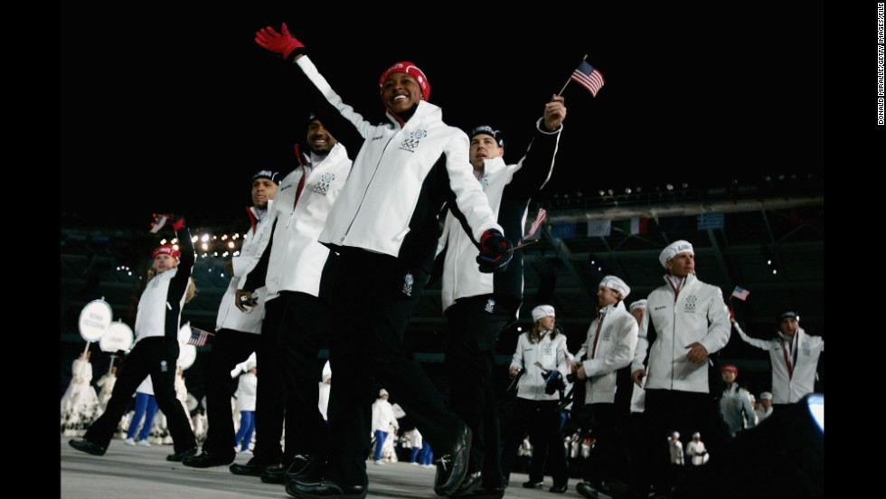 American athletes at the opening ceremony in the 2006 Winter Games in Turin, Italy.