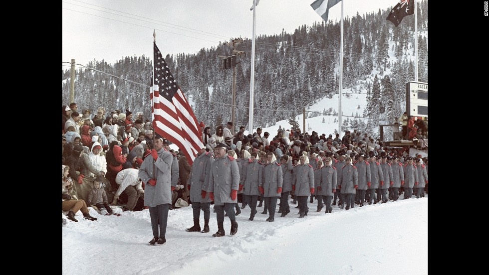 U.S. athletes at the 1960 Winter Olympics in Squaw Valley, California.