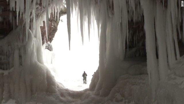 Stunning frozen caves on Lake Superior