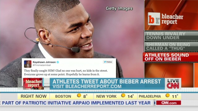 Johnson, Dickerson tweet Bieber arrest