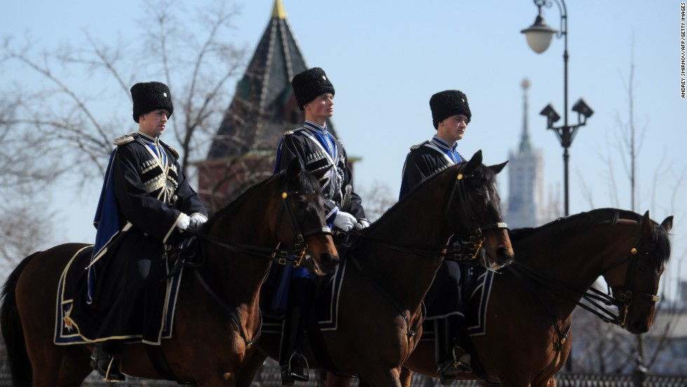 Cossacks also participate in ceremonial events, including this presidential regiment ride in the Kremlin following the changing of the guard ceremony in the Sobornaya (Cathedral) Square. The tsarist-style ceremony was restored by the Kremlin in 2007 to attract tourists.