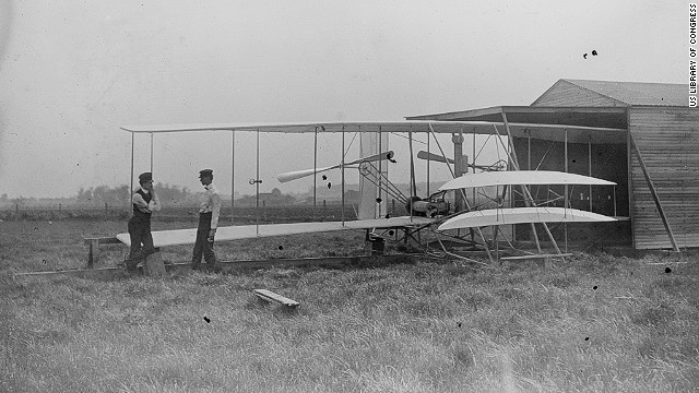 Wilbur and Orville Wright developed their aircraft at a field near Dayton, Ohio, called Huffman Prairie. This photo was taken in 1904.