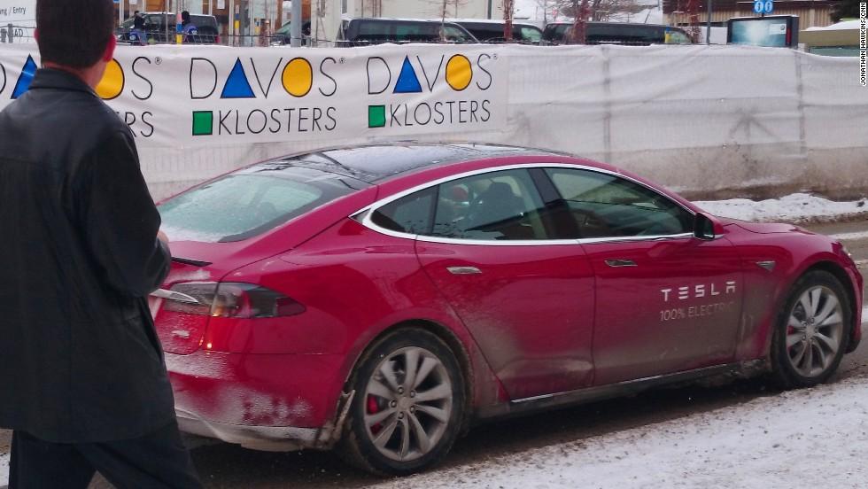 A Tesla Model S demonstrator turns heads driving around Davos.