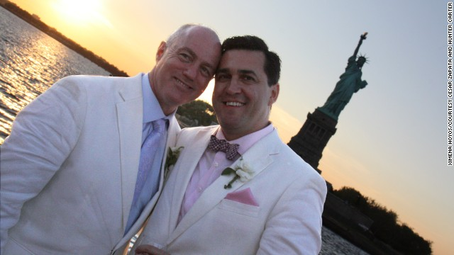 Hunter Carter, left, and Cesar Zapata, right, shown here on their June 16, 2012, wedding day, want TSA rules to be inclusive.