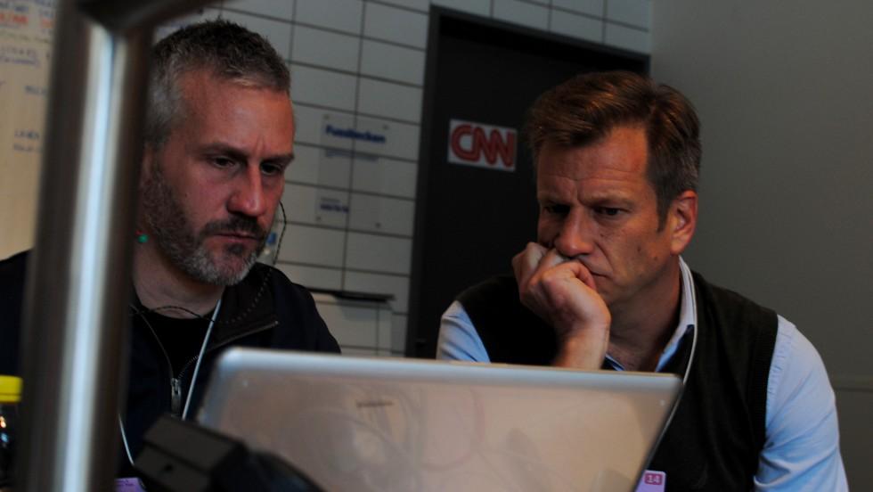 Working on a story at CNN's makeshift bureau.