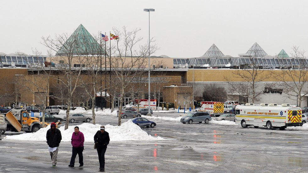 The area outside the mall is seen after the shooting.