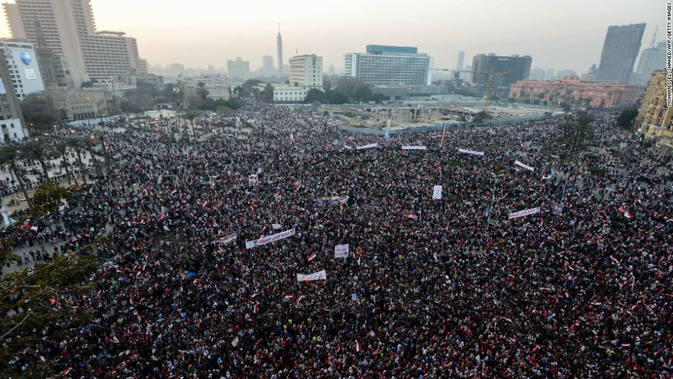 Thousands of Egyptians gather in Cairo's Tahrir Square during a rally marking the anniversary of the 2011 Arab Spring uprising on Saturday, January 25. A spate of deadly bombings put Egyptian police on edge as supporters and opponents of the military-installed government take part in rival rallies for the anniversary.