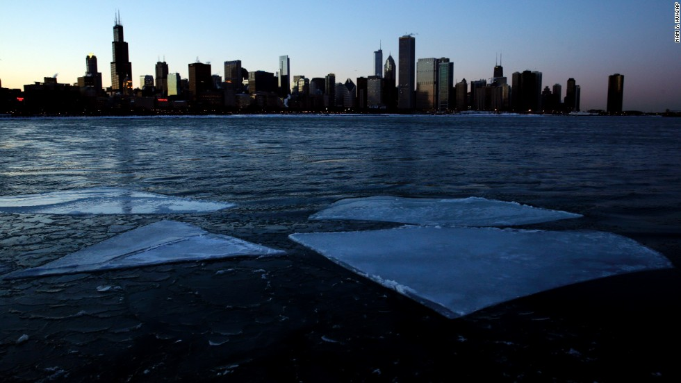Ice floats by the Chicago skyline on Lake Michigan on Thursday, January 23.