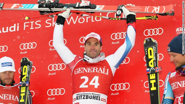 Switzerland's Didier Defago celebrates after winning the men's World Cup Super G in Kitzbuehel, Austria on Sunday.