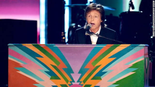 "Paul McCartney performs his song ""Queenie Eye."" He was joined on stage by former Beatles bandmate Ringo Starr."