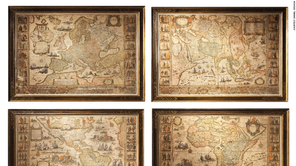 Amsterdam globemaker Willem Blaeu's wall maps are considered to be among the most influential and artistically virtuous masterpieces of baroque cartography, and appeared many times in Vermeer's paintings. The map of Africa shows the European conception of the continent at a time when the coastlines had been explored but the interior remained an enigma.