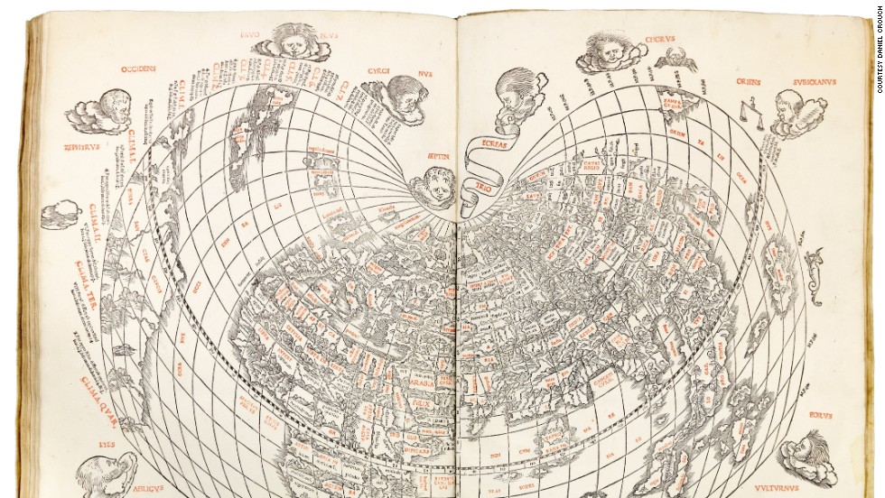 "This ""very fine"" Venetian edition of Ptolemy's Geographica is the first atlas wholly printed in color, and the map (pictured) in the atlas is the first printed map to indicate Japan, and the second Ptolemaic world map to show America."