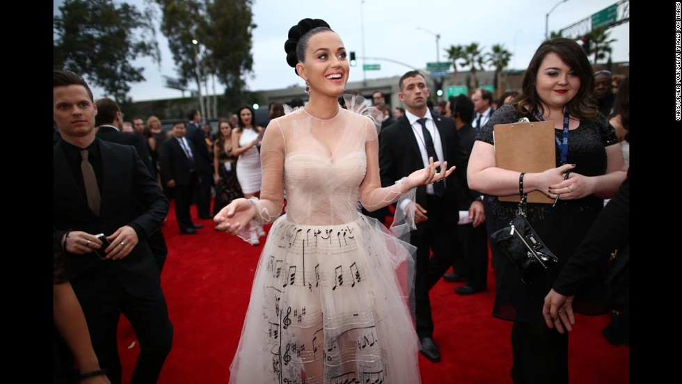 We're cheating a little bit because Katy Perry's pale gauzy gown also has music notes on it, but come on -- this is Katy Perry. Even if there was a mandate to wear all white, she'd still give it her own spin.