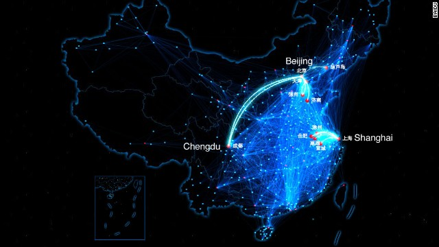 Chinese social network Baidu has developed a moving map of Chinese people as they travel home for Chinese New Year.