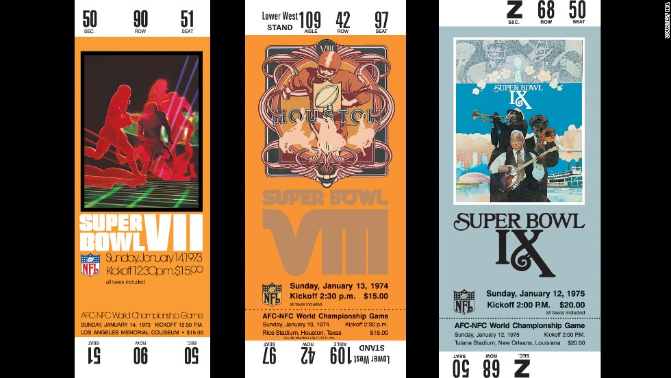 Tickets for Super Bowls VII, VIII and IX.