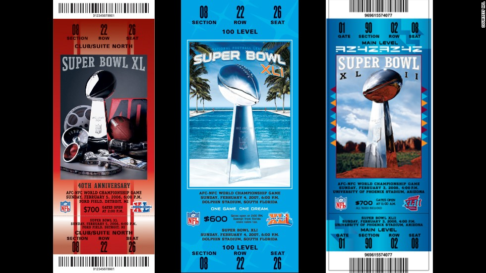 Tickets for Super Bowls XL, XLI and XLII.