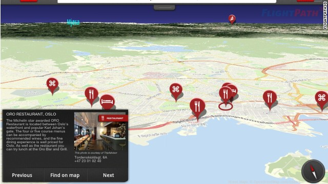 The FlightPath3D moving map doubles as a destination guide.