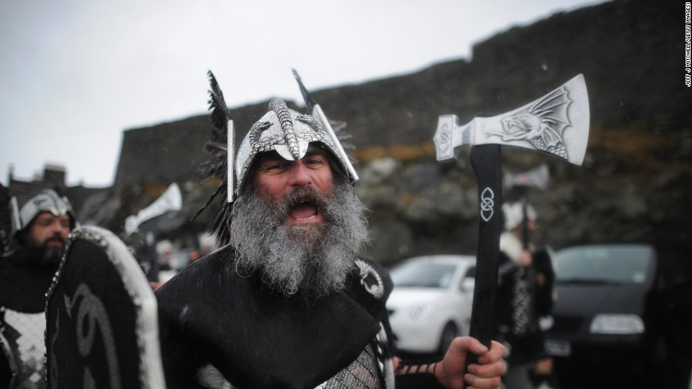 The Up Helly Aa festival, a celebration of the Shetland Islands' Viking heritage, kicked off Tuesday in the capital of the Scottish region, Lerwick.
