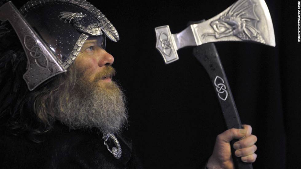 Up Helly Aa participants make their own weapons -- including battle axes and spears -- throughout the year.
