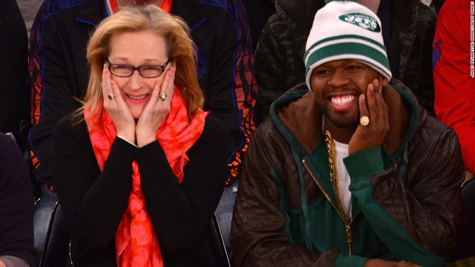 "We had no idea Meryl Streep and 50 Cent had a budding friendship until the rapper shared photos of himself hanging out with the Oscar winner at an NBA game between the Los Angeles Lakers and the New York Knicks. Not only were the two clearly having a ball courtside, <a href=""http://bleacherreport.com/articles/1937415-50-cent-sits-by-meryl-streep-hangs-out-with-kobe-bryant-at-lakers-knicks-game"" target=""_blank"">but they seemed chummy off the court as well as they ran into Lakers star Kobe Bryant</a>."