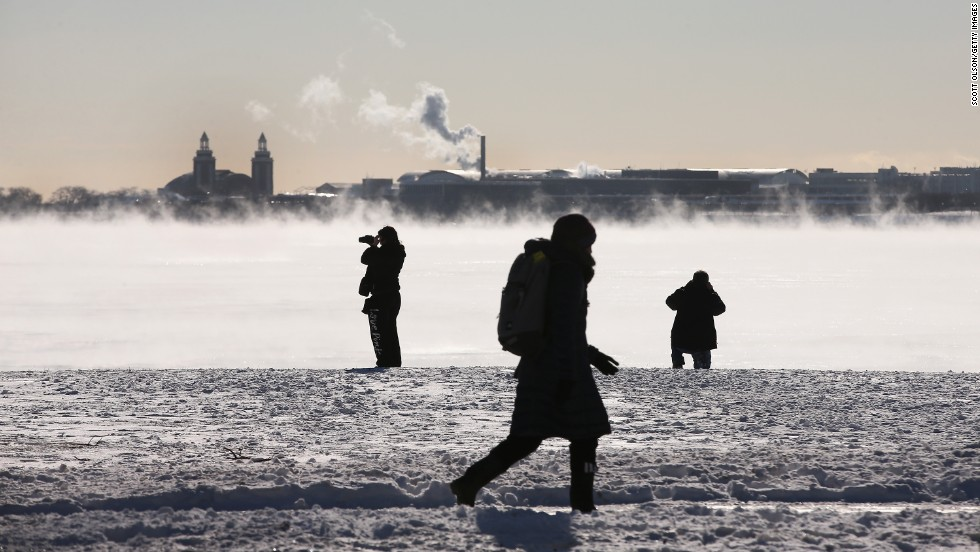 Steam rises from Lake Michigan in Chicago on Monday, January 27.