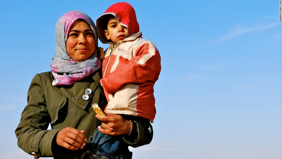 The majority of the refugees walking across the border are women with children. Many of the men have either stayed behind to fight or have been killed during the three-year civil war in Syria.