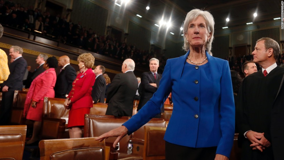 "Health and Human Services Secretary Kathleen Sebelius arrives for the address. Obama called on Republicans to stop trying to undermine his 2010 health care reform law passed with no GOP support, saying, ""The American people aren't interested in refighting old battles."""