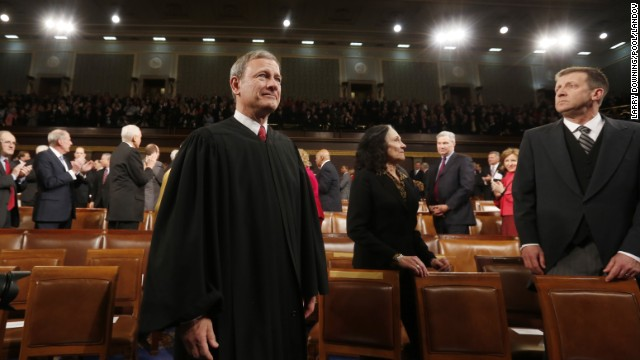 U.S. Supreme Court Chief Justice John Roberts arrives prior to President Barack Obama's State of the Union speech on Capitol Hill in Washington, January 28, 2014.     UPI/Larry Downing/Pool /LANDOV