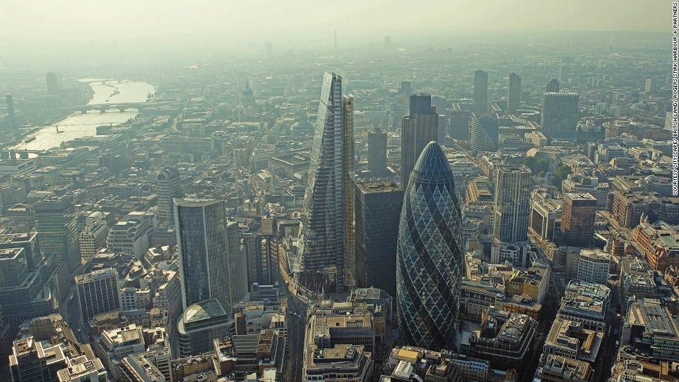 """<em>The Leadenhall Building </em><br /><br />The striking skyscraper, nicknamed the <a href=""""http://www.theleadenhallbuilding.com/"""" target=""""_blank"""">Cheesegrater </a>due to its distinctive shape, is an unmissable landmark in London's skyline. Designed by <a href=""""http://www.rsh-p.com/rshp_home"""" target=""""_blank"""">Rogers Stirk Harbour and Partners</a>, it is the latest in a crop of extraordinary buildings such as the Gherkin, also pictured here, and 20 Fenchurch Street, better known as the<a href=""""http://www.20fenchurchstreet.co.uk/"""" target=""""_blank""""> Walkie Talkie</a>, built in the heart of London's financial district."""