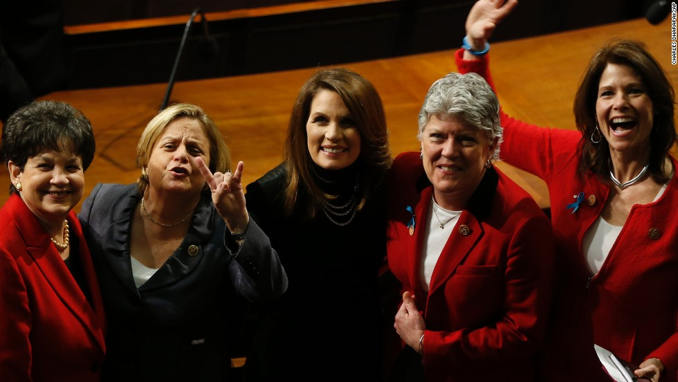 The wage gap between men and women was highlighted in  President Barack Obama's State of the Union address.  From left, Rep. Lois Frankel, D-Florida, Rep. Ileane Ros-Lehtinen, R-Florida, Rep. Michele Bachmann, R-Minnesota, Rep. Julia Brownley, D-California, and Rep. Cheri Bustos, D-Illinois.