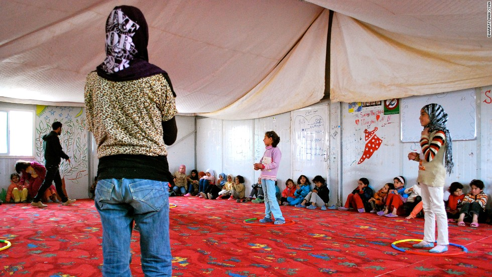 This is a child friendly space, one of several in the camp. There are separate sessions for girls and boys.