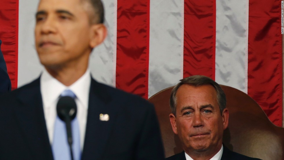 House Speaker John Boehner looks on as President Barack Obama delivers his State of the Union address.